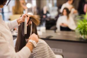 Domani Salon Brunett Woman Getting Her Haircut