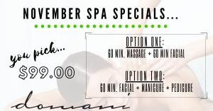 Domani November Spa Specials